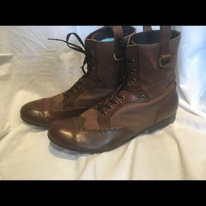 """Schmoove leather and canvas """"combat"""" ankle boots"""